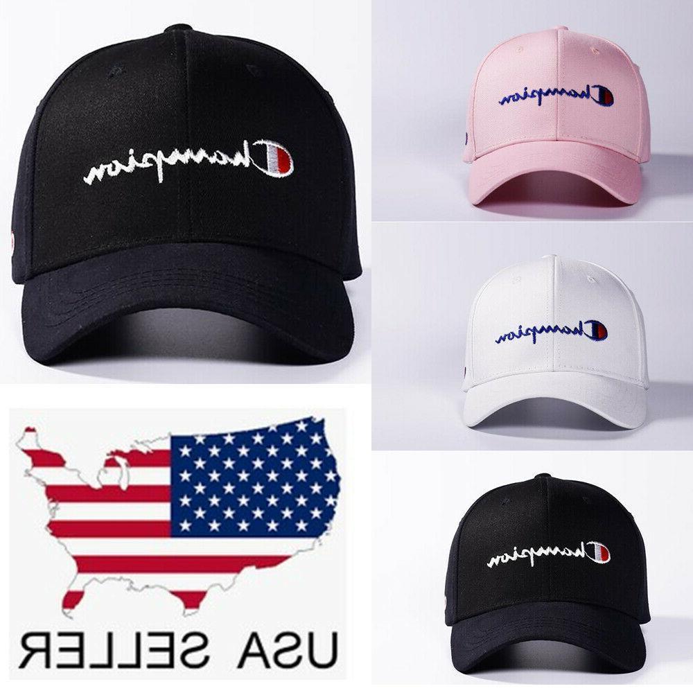 Champion Embroidery Sport Baseball Cap Black New Hip Hop Hat Unisex Cap Snapback