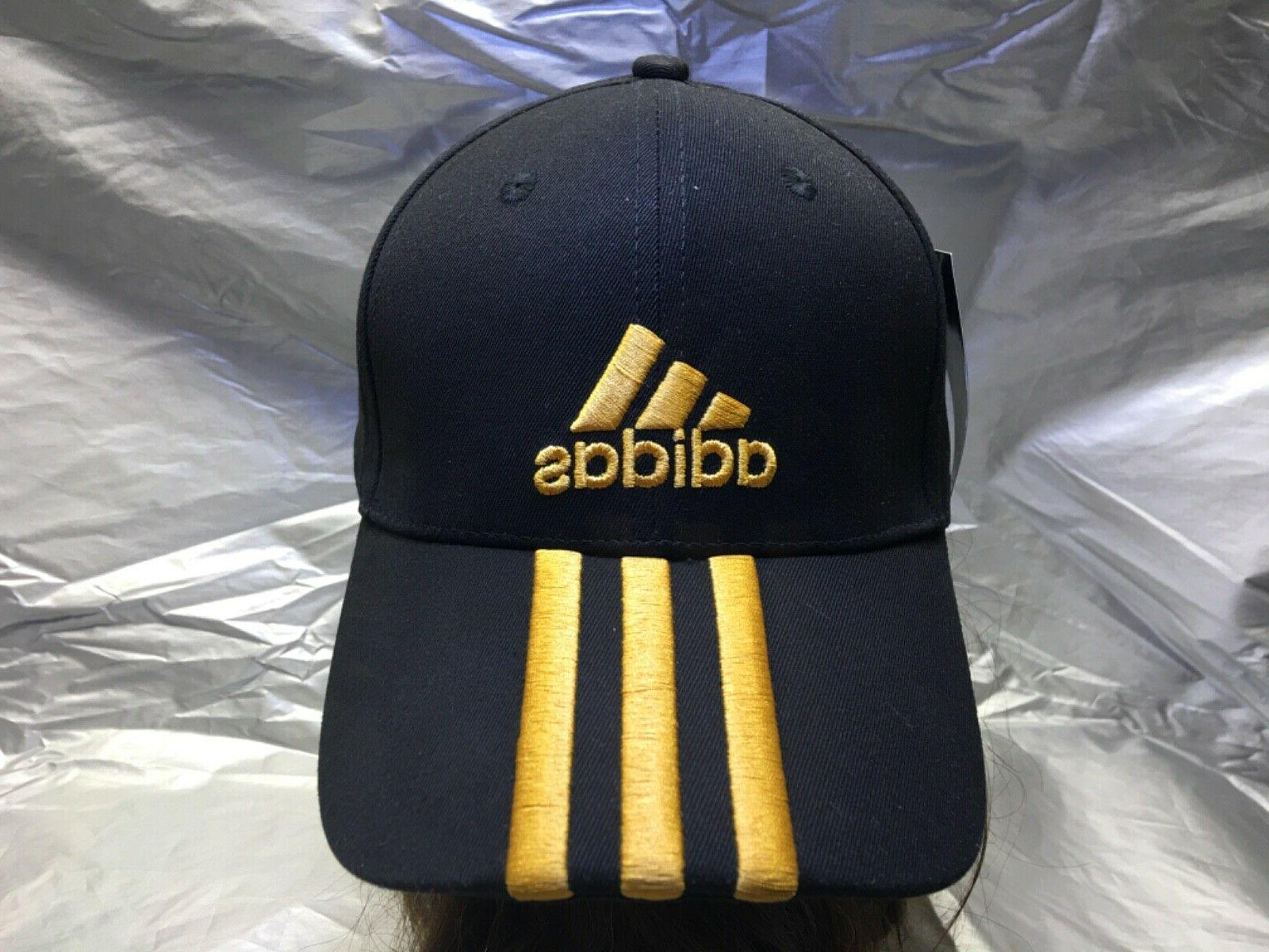 ADIDAS Strapback Cap w/Gold Embroidered Emblem Hat