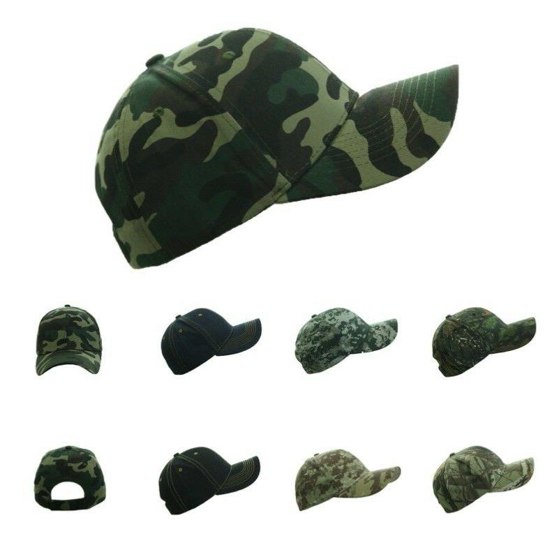 Plain Baseball Cap Denim Hat Army Camo Military Fishing Hunt