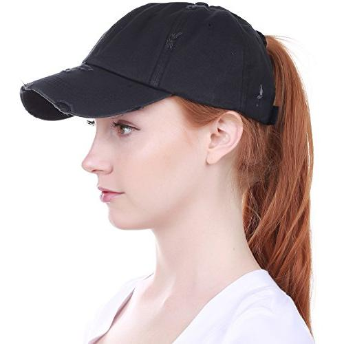 PONY-001 BLK Ponytail Messy High Adjustable Cotton Baseball Cap