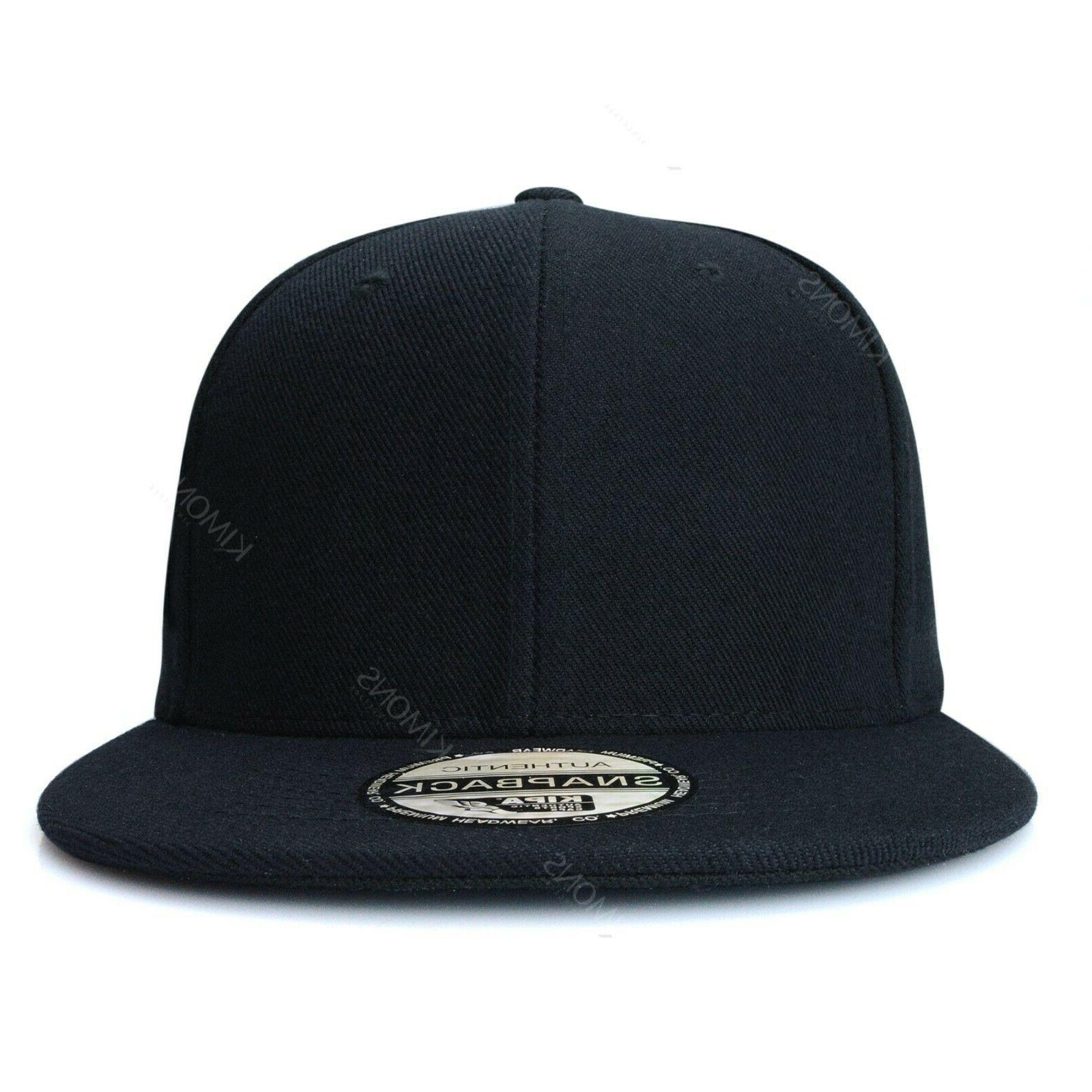Snapback Hat Flat Solid Plain Blank Men Adjustable