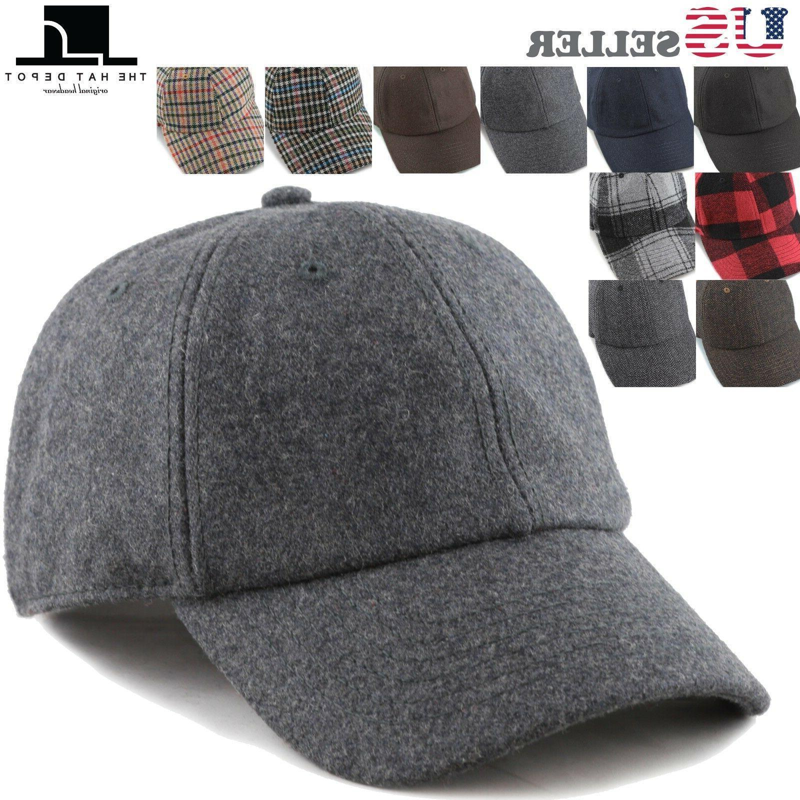 The Hat Depot Unisex Wool Blend Baseball Cap Hat with Adjust