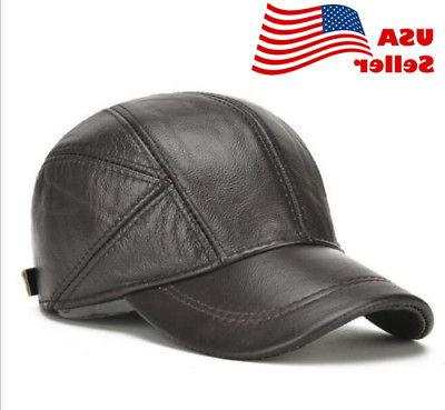 US! Genuine Men's Hat Winter Warm Cowhide Hats