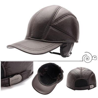 US! 100% Men's Hat Winter Warm Cowhide Baseball Hats