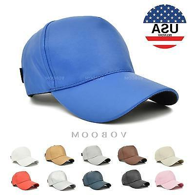 US Voboom Plain Solid Leather Polo Style Baseball Ball Cap C