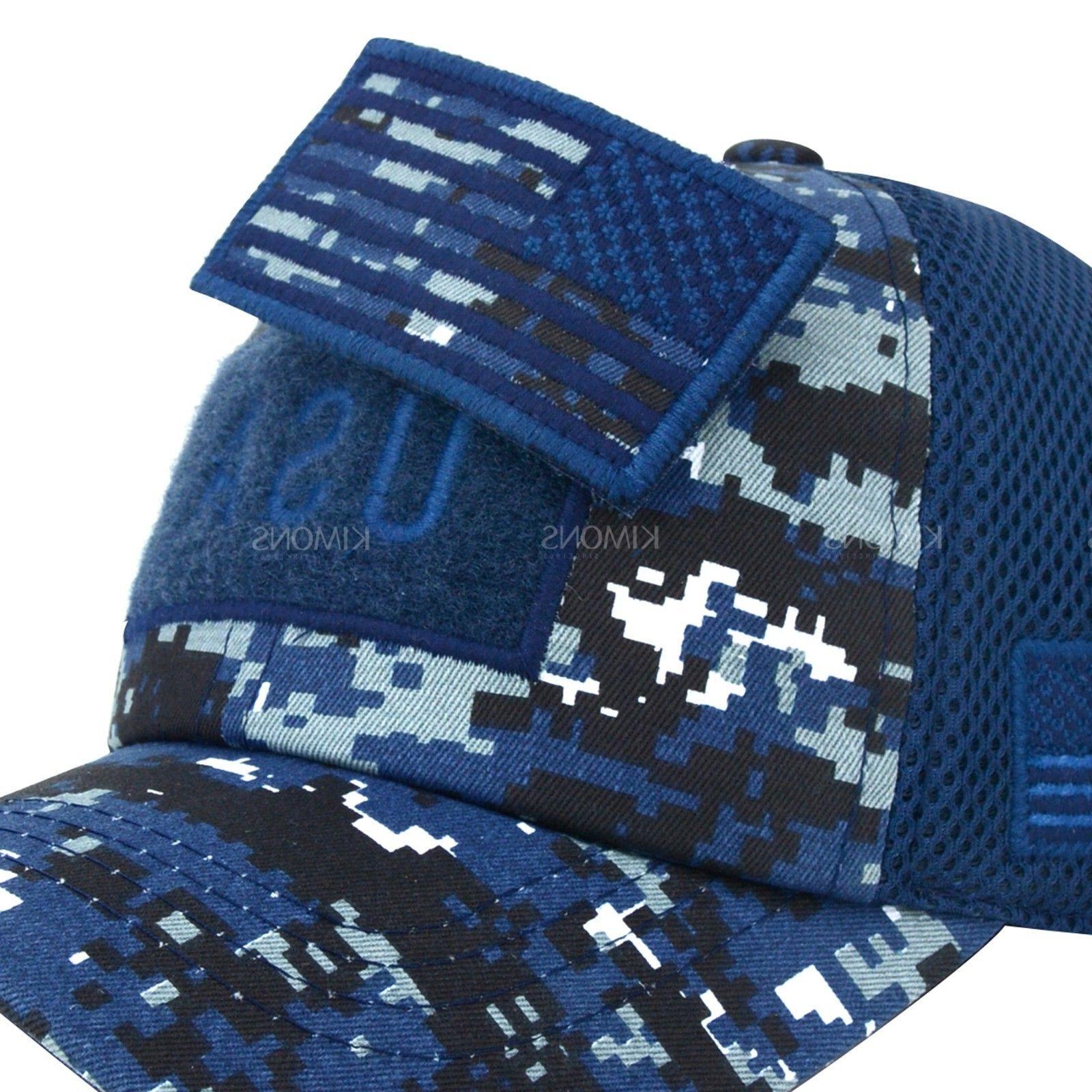 USA Flag hat Detachable Baseball Mesh Military cap