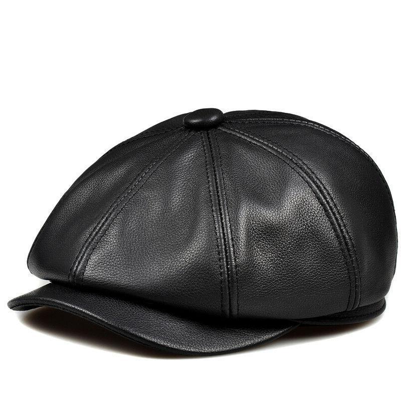 Women Winter Hat Cap Leather Hat Peaked Cap New
