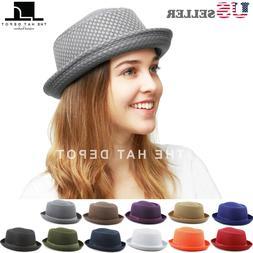 Porkpie Hat - Light Weight Classic Soft Cool Summer Mesh Por