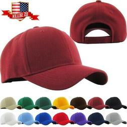 Loop Plain Baseball Cap Solid Color Blank Curved Visor Hat A