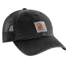 Carhartt Men's Brandt Hat Washed Black Snapback Mesh Back Ba