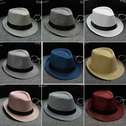 Men Women Dress Hats Wide Brim Boater Caps Sunhat Sunbonnet