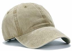 Edoneery Men Women Plain Cotton Adjustable Washed Twill Low
