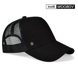 VOBOOM Mens Baseball Cap Solid Black Trucker Hat Mesh Breath