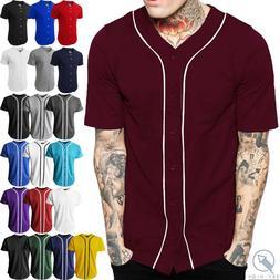 Mens Baseball Jersey Raglan Plain T Shirt Team Uniform Solid
