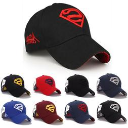 Mens Boys Superman Embroidery Baseball Cap Sports Summer Sof