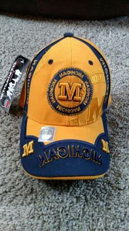 Michigan City Hunter Baseball Strapback Cap/Hat Yellow/Blue