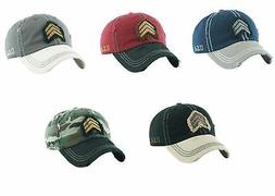 military rank vintage distressed dad hat baseball