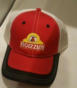 Mission Strap Back Baseball Hat Red White  Cap NWT