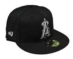 MLB Anaheim Angels Black with White 59FIFTY Fitted Cap, 7 1/