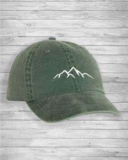 Mountains  Hiking Unstructured Dad  Hat Pigment Dyed Cotton