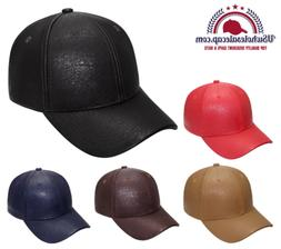 Top Level Multi-Color Leather Plain Baseball Cap Hat PU Leat