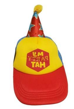 My Party Hat Hallmark Baseball cap adult size Red yellow blu