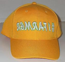 NEW!  MENS #1 FARMER YELLOW  NOVELTY BASEBALL CAP / HAT