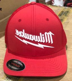 New RED FlexFit Milwaukee Tools Logo Baseball Hat Bill Cap M