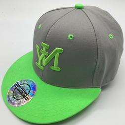 CITY HUNTER NEW YORK USA BASEBALL CAP NEON GREEN & GREY SNAP
