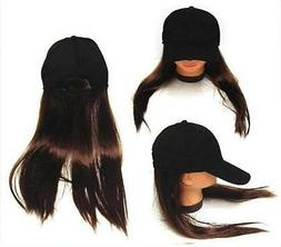 NOVELTY BASEBALL HAT WITH LONG BROWN HAIR costume dressup ba