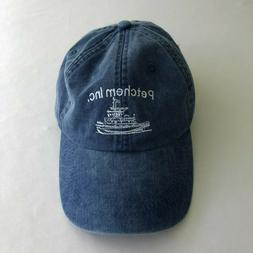Adams Baseball Cap Hat Blue Denim Twill Tug Boats Ships Mari