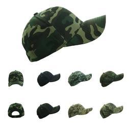Plain Baseball Cap Denim Hat Army Camo Military Fishing Hunt