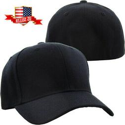 Plain Fitted Baseball Cap Curved Visor Solid Blank Color Cap