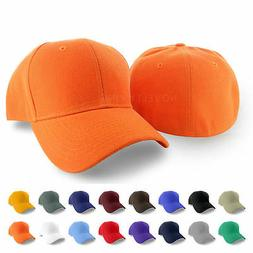 Plain Fitted Curved Visor Baseball Cap Hat Solid Blank Color
