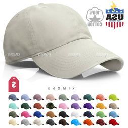 Cotton Baseball Cap Ball Dad Hat Adjustable Plain Solid Wash