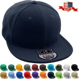 Premium Solid Fitted Cap Baseball Cap Hat, Flat Bill / Brim