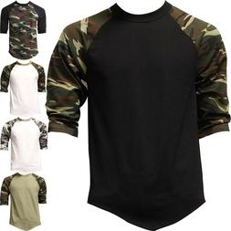 Mens Raglan T Shirts Baseball 3/4 Sleeve CAMO Plain Tee Jers