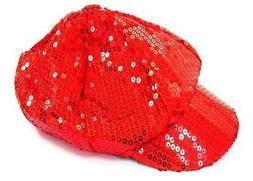 RED SEQUIN BASEBALL CAP flashy novelty sparkle hat hats game