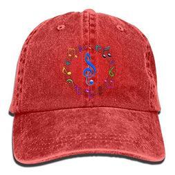 RS-pthrA2!!! Music Printing Adjustable Baseball Cap Hats Men