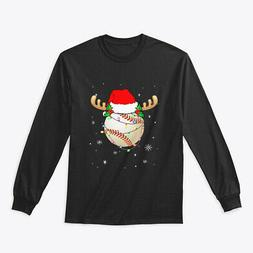 Santa Hat Baseball Reindeer Christmas Gildan Long Sleeve Tee