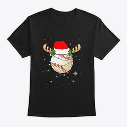 Santa Hat Baseball Reindeer Christmas Hanes Tagless Tee T-Sh