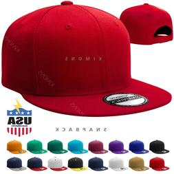 Snapback Hat Hip Hop Baseball Cap Plain Flat Men Military Bl