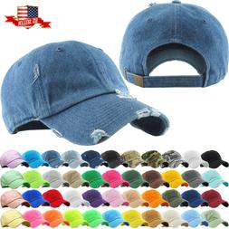 Solid Distressed Vintage Cotton Polo Style Baseball Ball Cap