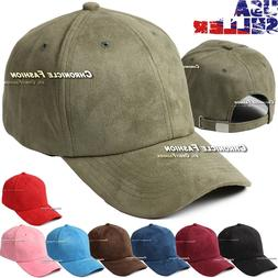 Suede Hat Baseball Cap Soft Plain Classic Strapback Adjustab