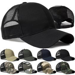Trucker Hat Snapback Baseball Mesh Back Cap Solid Visor Plai