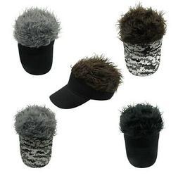 Unique Wig Baseball Hats Adjustable Sun Visor Cap Novelty Fo
