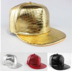 Fashion Cool Snapback Hat Adjustable PU Leather Hip Hop B-bo