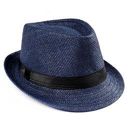 Byyong Unisex Trilby Gangster Cap Beach Sun Straw Hat Band S