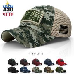USA American Flag hat Detachable Baseball Mesh Back Military