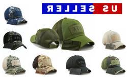 USA American Flag Hat Detachable Patch Cotton Baseball Mesh